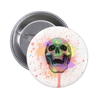 Paint Splatter Skull Button