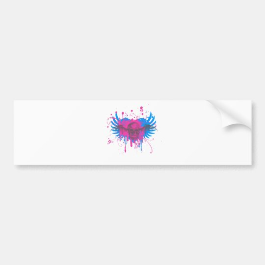 Paint Splatter Skull Graphic Bumper Sticker