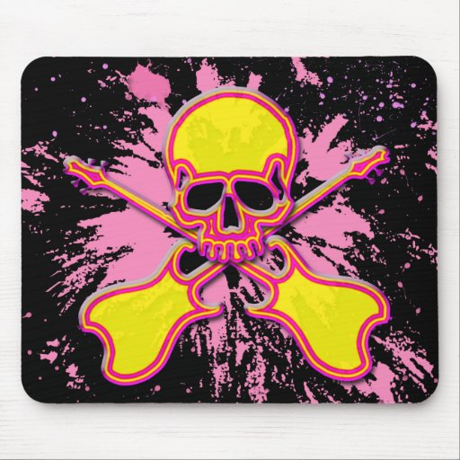 PAINT SPLATTER SKULL WITH GUITARS MOUSE PAD