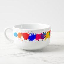 Paint Splatter Soup Bowl With Handle
