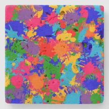 Paint Splatter Stone Beverage Coaster