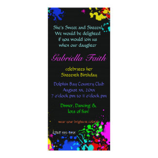 Paint Splatter Sweet Sixteen Custom Invitation Announcement