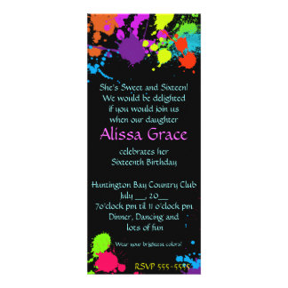 Paint Splatter SweetSixteen Bat Mitzvah Invitation Announcements
