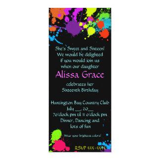 Paint Splatter SweetSixteen Bat Mitzvah Invitation
