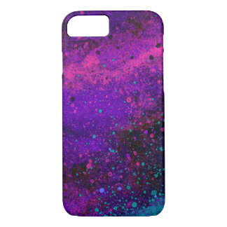 Paint Splatter Texture in Pink Purple and Blue iPhone 7 Case