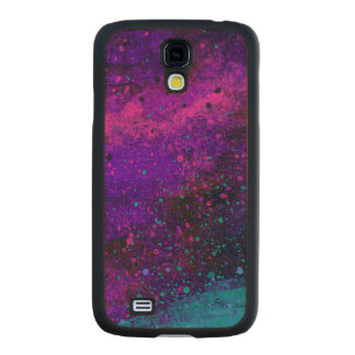 Paint Splatter Texture in Pink Purple and Blue Carved® Maple Galaxy S4 Slim Case