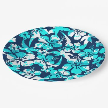 adamfahey Paint splattered hibiscus and palms paper plate