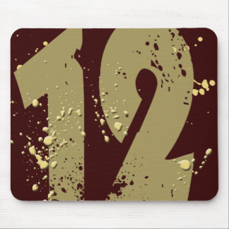 PAINT SPLATTERED NUMBER 12 MOUSE PAD