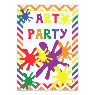 Paint Splatters Art Party 5x7 Birthday Invitation
