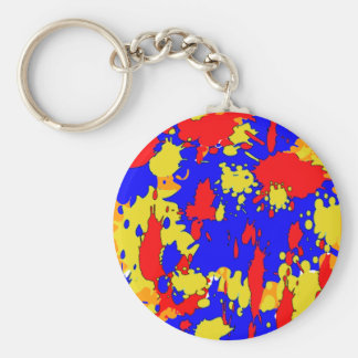 Paint Splatters Blue Red Yellow Abstract Keychain