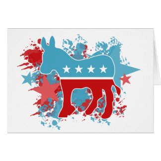 Paint Splatters Democrat Donkey Card