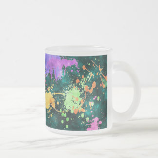 PAINT SPLATTERS FROSTED GLASS COFFEE MUG