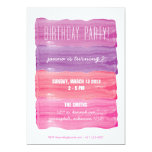 Paint Strokes Girls Birthday Party 5x7 Paper Invitation Card