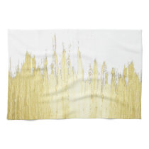 Paint Strokes in Faux Gold Hand Towel