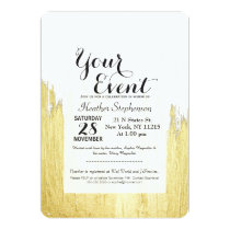 Paint Strokes in Faux Gold Invitation