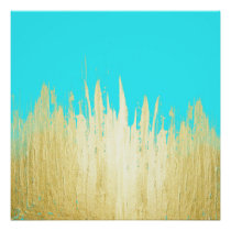 Paint Strokes in Faux Gold on Aqua Teal Poster