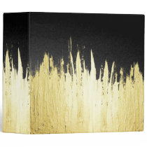 Paint Strokes in Faux Gold on Black 3 Ring Binder