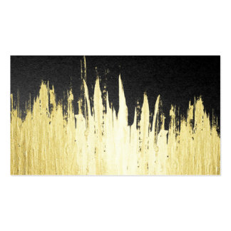 Paint Strokes in Faux Gold on Black Double-Sided Standard Business Cards (Pack Of 100)