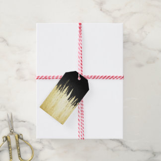 Paint Strokes in Faux Gold on Black Gift Tags