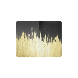 Paint Strokes in Faux Gold on Black Pocket Moleskine Notebook