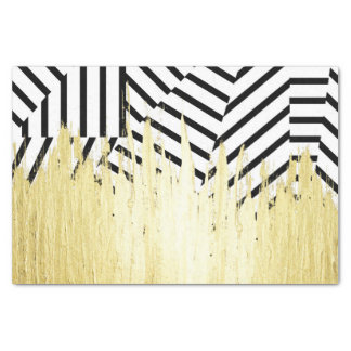 "Paint Strokes in Faux Gold on Black & White Stripe 10"" X 15"" Tissue Paper"