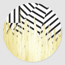 Paint Strokes in Faux Gold on Black & White Stripe Classic Round Sticker