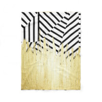 Paint Strokes in Faux Gold on Black & White Stripe Fleece Blanket