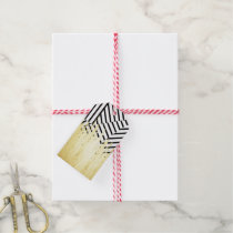 Paint Strokes in Faux Gold on Black & White Stripe Gift Tags