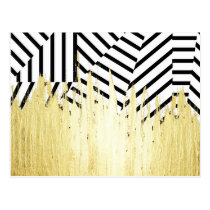 Paint Strokes in Faux Gold on Black & White Stripe Postcard