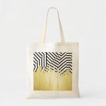 Paint Strokes in Faux Gold on Black & White Stripe Tote Bag