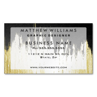 Paint Strokes in Faux Gold on Black Magnetic Business Cards (Pack Of 25)