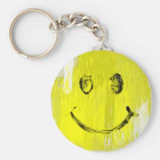 Paint Strokes Smiley Face Keychain