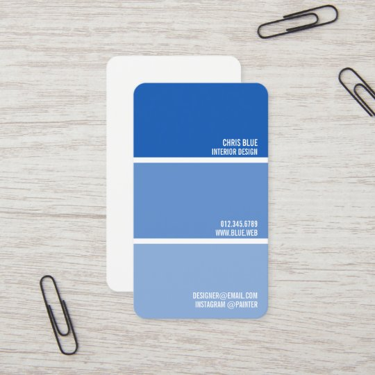 Paint Swatch Blue Chips Painter Decorator Business Card Zazzle