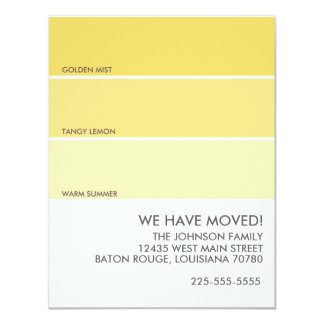 "Paint Swatch Moving Announcement 4.25"" X 5.5"" Invitation Card"