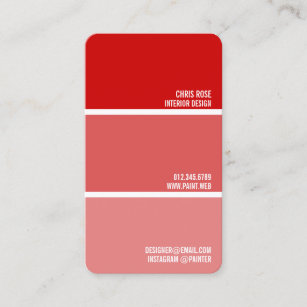 Paint Swatch Red Chips Painter Decorator Business Card
