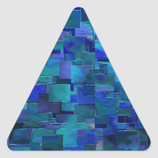 """Paint the Walls"" Blue Abstract Art Triangle Stickers"