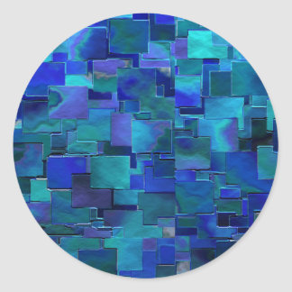 """Paint the Walls"" Blue Abstract Art Round Stickers"
