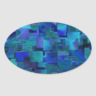 """Paint the Walls"" Blue Abstract Art Oval Sticker"