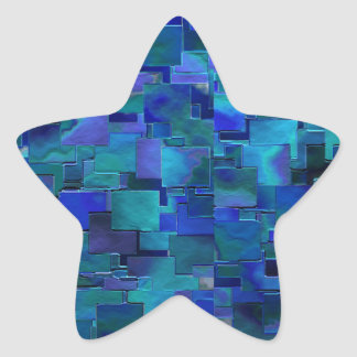 """Paint the Walls"" Blue Abstract Art Star Stickers"