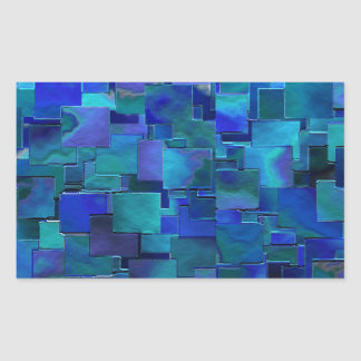 """Paint the Walls"" Blue Abstract Art Rectangular Stickers"