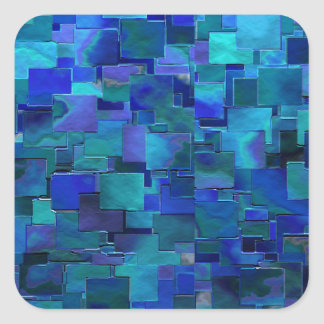 """Paint the Walls"" Blue Abstract Art Square Sticker"