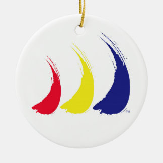 Paint-The-Wind Splashy Sails_Holiday Decoration Double-Sided Ceramic Round Christmas Ornament