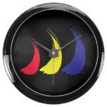 Paint-The-Wind Splashy Sails_on black Aquavista Clocks
