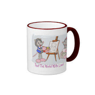 Paint The World With Love! Ringer Coffee Mug