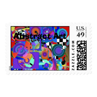 Paint with Holes, Abstract Art Postage Stamp
