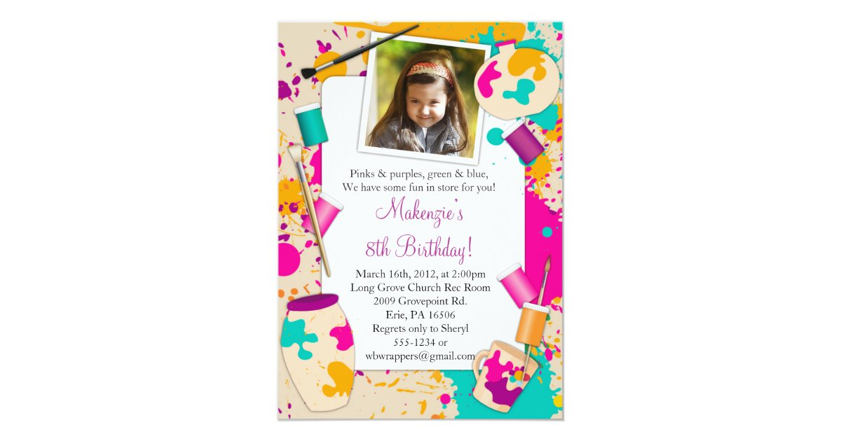 Paint Your Own Pottery Birthday Party Invitation | Zazzle.com