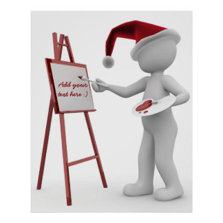 Paint your text Santa Painting Easel Red White Art Poster