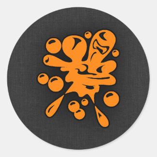 Paintball anaranjado pegatina redonda