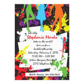 Paintball bachelorette party invitation