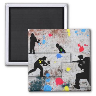 Paintball Battle 2 Inch Square Magnet